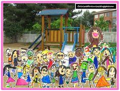 Regal de per a final de curs foto del pati amb dibuixos dels infants