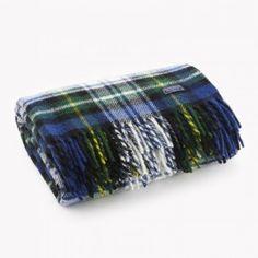 Stewart Plaid Wool Throw - Blue made in America plaid blanket - maybe mom porn.