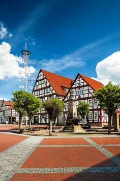 La plaza del Mercado, en el pueblo de Hofgeismar, Germany