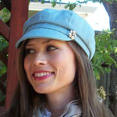 Womens Newsboy Cap Blue Cotton Womens Hat  MADE TO by BkmHattitude, $26.00