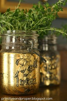 This week has been all about plants and gold, so I figured I'd end the week with that theme! A few weeks ago when I was working on my gold leaf hanging insulator succulent garden (a guest post I did for Tatertots and Jello), I also pulled out some vintage mason jars I had on...Read More »