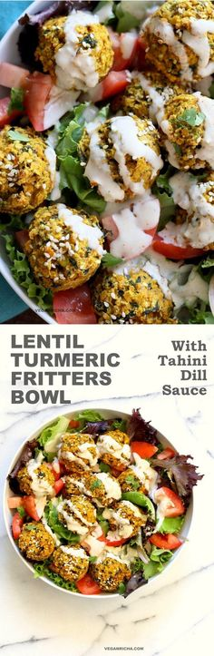 Turmeric Lentil Fritters Tomato Greens Bowl with Tahini Dill Sauce. Baked Seedy Golden Lentil fritters with greens, tomatoes and a tahini sauce make an easy Lunch bowl. #Vegan #Nutfree #Soyfree #Recipe. Easily #Glutenfree #veganricha | VeganRicha.com