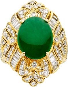 Jadite Jade, Diamond, Gold Ring  The ring features a jadeite jade cabochon measuring 12.80 x 10.25 x 4.70 mm and weighing 5.17 carats, enhanced by full-cut diamonds weighing a total of approximately 1.25 carats, accented by baguette-cut diamonds, set in 18k gold