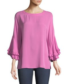 Luanne+Ruffle-Sleeve+Relaxed+Top+by+Kobi+Halperin+at+Neiman+Marcus.