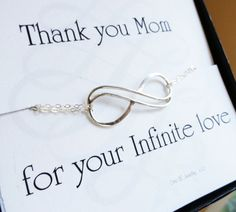 """Mothers Day card with silver infinity bracelet """"Thanks for your infinite love"""""""