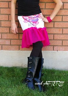 Make a ruffled skirt out of an old tee and a bit of tulle!  Edit: Had my first go at this project on 4/9/12. Super quick and easy, and daughter loves it!