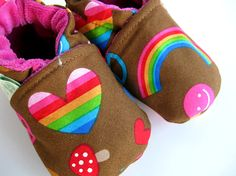 Chocolate Rainbow Fabric shoes from bittyfluff :)