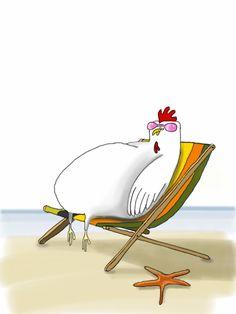 Chicken on the Skodshoved beach #illustration