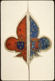 Amazing manuscript in the shape of the fleur-de-lis. It is a Book of Hours for the use of Rome, made circa 1555.  (Amiens, Bibliothèque municipale, fonds L'Escalopier 022)