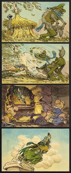 """(ещё немного архива Мигунова) Эти два сюжета в последние дни не вспомнил, наверное, только ленивый. Но иллюстрировались они другими картинками... 1. Из оригинал-макетов к диафильму """"Три поросёнка"""": 2. Из черновиков к диафильму """"Чиполлино"""": Собянин, ты какой вариант предпочитаешь?"""