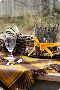 Autumn table setting....like the goblet glass