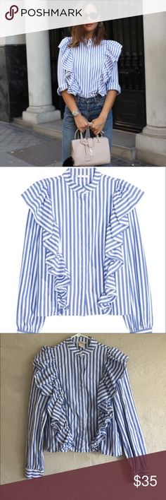H&M Stripe Ruffle Shirt H&M stripe ruffle shirt. Worn once. Blogger favorite H&M Tops Button Down Shirts