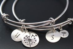 Dandelion Bracelets Mother Daughter bracelet set of 2 bracelets Gift for Mom Daughter gift from mom Jewelry Set Mother of the Bride Gift Initial Jewelry, Mom Jewelry, Initial Pendant, Jewelry Sets, Bracelet Set, Bangle Bracelets, Bangles, Mother Daughter Bracelets, Mom Daughter