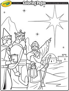 Christmas Coloring Page- We Three Kings. Fun for the kids to color and give as gifts. After coloring cut out and glue to a piece of red or green construction paper. And maybe a bit of glitter! Have your child write a nice simple message on the back with their autograph and date.