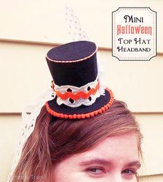 Mini Halloween Top Hat Headband