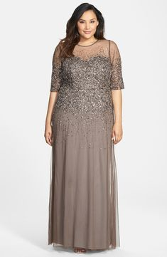 Free shipping and returns on Adrianna Papell Beaded Illusion Gown (Plus Size) at Nordstrom.com. A swirling galaxy of silvery beads and sequins scatters across the ethereal mesh overlay of an illusion bodice gown that cascades down to just brush the floor.
