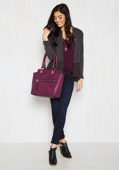 Styled and Beguiled Bag in Merlot. Have you ever looked so sharp that you can't take your eyes off of your own reflection? #red #modcloth