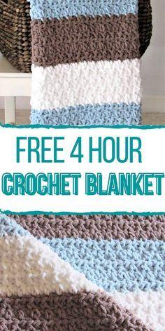 Fast Crochet, Crochet Stitches For Blankets, Crochet Baby Blanket Beginner, Crochet Baby Blanket Free Pattern, Crochet For Boys, Chunky Crochet, Crochet Children, Crochet Ideas, Crochet Patterns