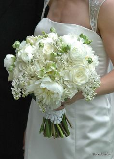 White peonies, rannuculus, garden roses and lilac!! !So sweet and lush.