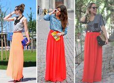 A saia Longa é uma super tendência para o verão 2015, veja como criar looks com saias longas, como usar e onde comprar!