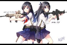Two anime girls with guns ⊙▽⊙