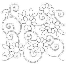 Border Embroidery Designs, Floral Embroidery Patterns, Embroidery Flowers Pattern, Quilting Designs, Flower Patterns, Embroidery Stitches, Quilt Patterns, Dot Art Painting, Thread Painting