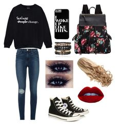 """""""Week Of School Contest Read The D"""" by emmacouture2339 ❤ liked on Polyvore featuring Converse, Madden Girl, Frame Denim and Samantha Wills"""