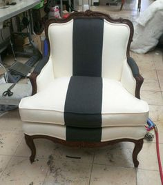 black and white stripe antique chair