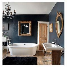c Vintage Bathrooms, Modern Bathroom Decor, Bathroom Interior, Small Bathroom, Dark Bathrooms, Bathroom Suites Uk, Edwardian House, Apartment Interior, Beautiful Bathrooms