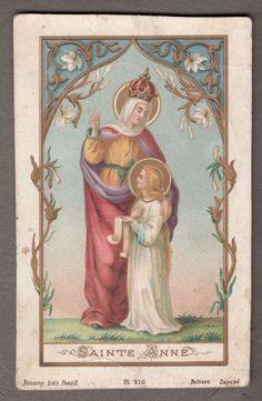 SAINT ANNE ANNA antique holy card