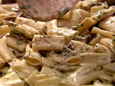 Nigella Lawson's Big Pasta with Mushroom, Parsley, Garlic and Thyme ... This recipe is for a large group. I replaced the expensive Porcini mushrooms with fresh button mushrooms and the amontillado sherry was substitued with apple cider vinegar per an online search. All in all this dish is a winner to serve to a crowd of people! I highly recommend it!