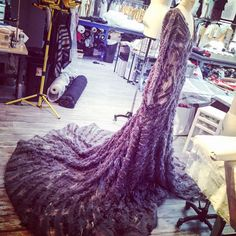 Chiffon textured gown being worked on in the studio today. #Fall2016 collection is on its way!