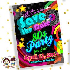 80s Theme Birthday Party Invitations Retro birthday 80 s and