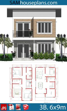 House Plans with 3 Bedrooms - Sam House Plans House Arch Design, 2 Storey House Design, Home Building Design, Simple House Design, Modern House Design, Small Modern House Plans, Simple House Plans, Bungalow House Plans, Bungalow House Design