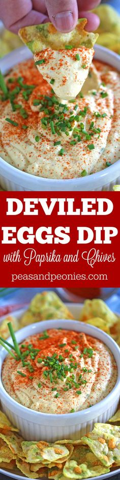 Deviled Eggs Dip with paprika and chives is a great way to use leftover eggs. Creamy, just a bit spicy, this is an easy and delicious appetizer. #MomBlogTourFF #sponsored