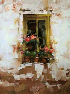 """Yellow Flower"" by Tibor Nagy is an expressive oil painting of a windowsill filled with red flowers in the artist's native country of Slovakia."