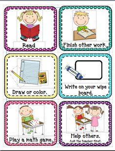 "Free ""I'm Done!"" Picture Cards- Great for an early finisher board (tri-fold board) with papers ready for coloring, easy math games, pages in sheet protectors to practice handwriting and more (with dry erase markers/erasers) Classroom Procedures, Classroom Organisation, Classroom Behavior, Classroom Setup, Kindergarten Classroom, School Organization, Future Classroom, School Classroom, Classroom Management"