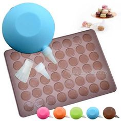 DIY Silicone Macaron Macaroon Baking Tool SET 1 Decorating PEN 1 Sheet MAT 30 48 | eBay