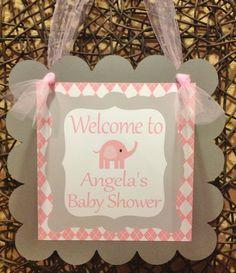 DOOR SIGN  It's a Girl Baby Elephant Banner by EmeraldCityPaperie, $12.00