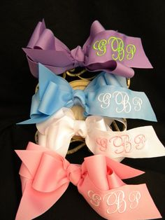 Monogrammed Hairbows BUY 3 and Get a FOURTH by LittleGoodieTutus, $29.97