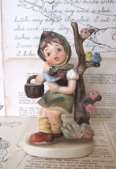 VINTAGE ceramic GIRL Hummel LIKE figurine Japan by jennyelkins, $7.50