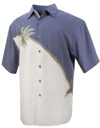 Hurricane Palm Tropical Embroidered Shirt in Blue