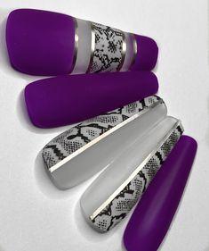 Glue On Nails, 3d Nails, Nail Art Designs Videos, Nail Designs, Snake Skin Nails, Purple Snake, Nail Sizes, Coffin Nails Long, Luxury Nails
