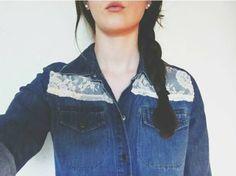 denim & lace // refashioned denim shirt