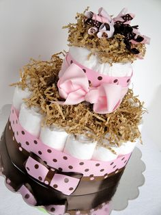 Mini Diaper Cake - Pink Brown Polka Dot Baby Girl Shower Diaper Cake Centerpiece - Mini Diaper Cake - http://www.babyshower-decorations.com/mini-diaper-cake-pink-brown-polka-dot-baby-girl-shower-diaper-cake-centerpiece-mini-diaper-cake.html