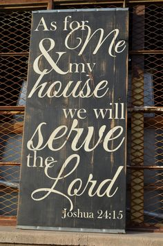 Large Distressed Wood Word Sign Salvaged by ChippyPaintDesigns - As For Me and My House We Will Serve the Lord