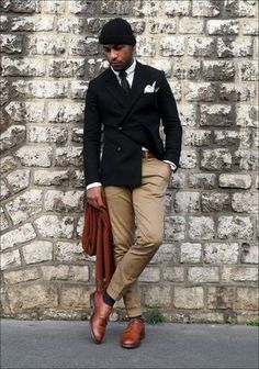 Men's Black Blazer, White Long Sleeve Shirt, Khaki Chinos, Brown Leather Derby Shoes
