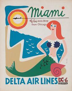 Vintage Miami / Delta Airlines Travel Poster - via Present & Correct Retro Airline, Airline Travel, Cruise Travel, Vintage Airline, Air Travel, Cruise Vacation, Beach Travel, Retro Poster, Vintage Travel Posters