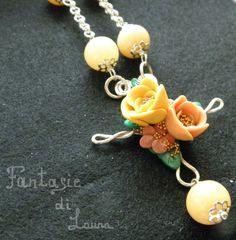 Collana in Premo Peach Rose di FantasieDiLaura su Etsy