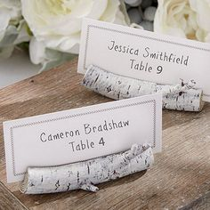 real-looking 3 inch resin white barked birch tree branch place card holders complete with coordinating place cards measure 3 inches long by 1/4 inch tall. Sold in sets of 6